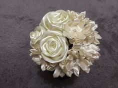 2 Mysterious Satin Ribbon Rose Wedding Bouquets by CuriousPetals