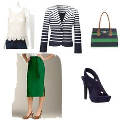 Navy and green work outfit, created by alwayswantingmore31 on Polyvore
