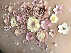DUSTY PINK/NUDE paper flower backdrop/Paper flower