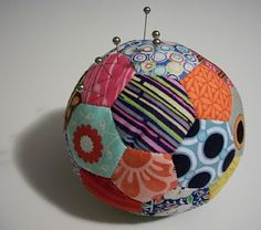 Soccer ball pincushion from stlouisfolkvictorian.blogspot.com