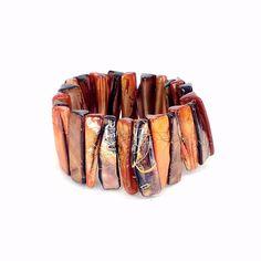 Statement Bracelet, Orange, Shell Bracelet, Cuff Bracelet, Chunky Bracelet, Boho Bracelet, Stretch Bracelet, Stone Bracelet, Beaded by Pilboxx on Etsy