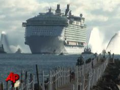 "The world's largest cruise ship, Royal Caribbean's ""Oasis of the Seas"" arrives at Port Everglades, Florida. Five times larger than the Titanic, it has 2,700 cabins and can accommodate 6,300 passengers and 2,100 crew members."