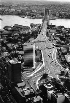 Southern approach to Sydney Harbour Bridge - 1964. Photograph by David Moore.