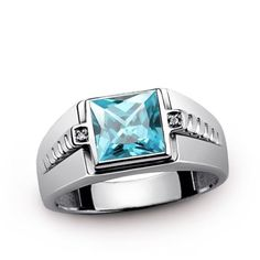 Men's Ring FINE STERLING SILVER Blue Topaz Gemstone with GENUINE DIAMONDS all sz # mensaccessories # menstylefashion # jewelryonetsy #meteorite #handmade #jewelry # mensjewelryshop # onlineshopping # mensringsonline # bestmensgifts #gifts #menswear