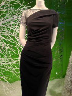 Lace shoulder detail on a little black Talbot Runhof little black dress!