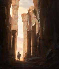 Exploring Ruins, Raphael Lacoste on ArtStation at https://www.artstation.com/artwork/Ld5Pk?utm_campaign=digest&utm_medium=email&utm_source=email_digest_mailer