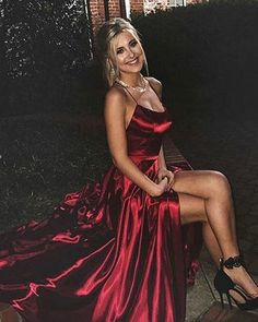 Sexy Burgundy Criss-Cross Straps Prom Dress Ruffles Sexy Split Side Long Party Gowns by prom dresses, $158.00 USD