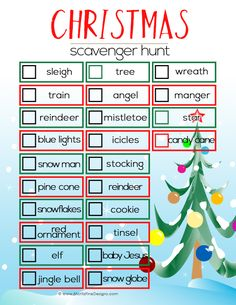 Christmas Scavenger Hunt for Kids Looking for a little entertainment for the kids during the holidays? Grab this Christmas Scavenger Hunt for Kids and send them off on an adventure. Christmas Scavenger Hunt, Scavenger Hunt For Kids, Christmas Games, Christmas Activities, Family Christmas, Christmas Projects, Christmas Traditions, Winter Christmas, Christmas Decorations