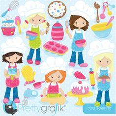 """Little Girls Bakers"" Adorable baking girls, cake, icing, cookies, cupcake and more baking fun!"