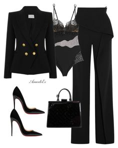 """""""Vanity"""" by aramarescobar ❤ liked on Polyvore featuring Roland Mouret, La Perla, Christian Louboutin, Pierre Balmain and Louis Vuitton"""