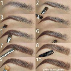 Make Up; Make Up Looks; Make Up Augen; Make Up Prom;Make Up Face; Makeup Steps Source by kayceenjax Eyebrow Makeup Tips, How To Do Makeup, Makeup Guide, Skin Makeup, Eyeshadow Makeup, Makeup Eyebrows, Drawing Eyebrows, Makeup Brushes, Makeup Contouring
