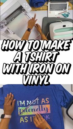 Iron on vinyl can be intimidating when you are just getting started. But this really easy tutorial will teach you how to make a shirt with iron on vinyl. Making Shirts, How To Make Tshirts, Make A Shirt, Diy Shirt, Cricut Heat Transfer Vinyl, Cricut Iron On Vinyl, Cricut Tutorials, Cricut Ideas, How To Make Iron