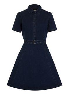 f7b52bf168aa Belted Shirt Dress, Denim Shirt Dress, Collar Dress, Vintage Inspired  Outfits, Vintage