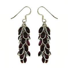 Gemstone Garnet Cluster Earrings Indian Sterling Silver Jewellery Handmade: ShalinCraft: Amazon.co.uk: Jewellery