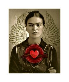 Frida Kahlo Art Print Original Digital 5x7 Signed  Mixed Media Collage Death of the Mother.
