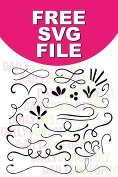 Free SVG text dividers and flourishes for Cricut and Silhouette cutting machines.