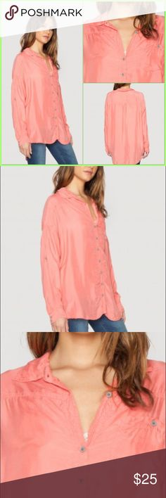 """Long Sleeve Oversize Button Down Blouse The Pete & Greta CAPRAS BUTTON DOWN top is cut for a relaxed fit in luxe Cupra, embodies casual-yet-cool style. Features a traditional collar, full button closure, front pocket, and tabbed sleeves. Bust 46"""" Length 29"""" - Melon Pink - Care Instructions: Machine Wash Cold, Tumble Dry Low Johnny Was Tops Button Down Shirts"""