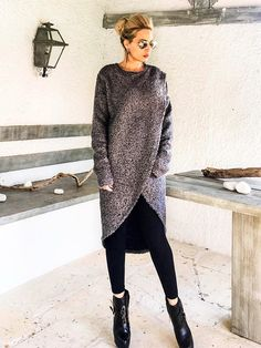 Winter Wool Tunic / Boucle Winter Warm Tunic / Winter Blouse / Plus Size Top / Long Sleeve Wool Top / Oversize Loose Blouse / #35253 This elegant and comfortable asymmetric blouse is a must have creation. You can wear it with pants, with jeans or with tights. - Handmade item -