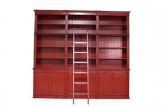 Bookcase Ladder 3 Partition Red. A Block and Chisel Product.