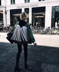 fringe; white leather even. thinking I might add this to the back of my Burberry.