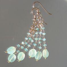 Apatite and Sea Foam Green Chalcedony Chandelier Earrings