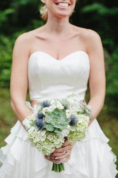thistle wedding bouquet // photo by Lev Kuperman http://ruffledblog.com/woodsy-hudson-valley-wedding/