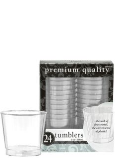 Clear Premium Plastic Tumblers 24ct - Party City