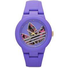 Adidas Aberdeen Playfully Original Silicone Watch ($85) ❤ liked on Polyvore featuring jewelry, watches, purple, silicone jewelry, purple jewelry, adidas watches, silicone wrist watch and silicon watches