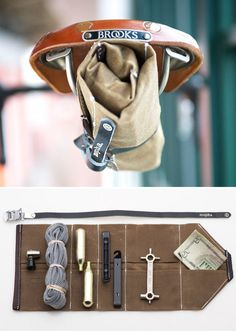 """rozanes:  ReCraft Your Bike Tools: The Mopha Tool Roll For Your Bike The essental bike tool roll. Nothing more, nothing less. Carry everything you need for any ride, cross town or cross borders. The Mopha Tool Roll is made of waxed canvas with leather trim and a leather toe strap to cinch the roll under your seat or drop into a bottle cage.It has 10 small pockets, of varying size, so that you can find just the right spot for all of your gear. The roll measures 16"""" by 7"""", when opened…"""