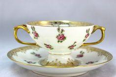 Antique T V Limoges Porcelain China 9 Cream Soup Bowls Cups Saucers Gold Rose | eBay