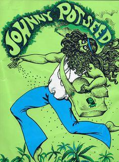 60s Psychedelic Art, Pot, Marijuana, Cannabis, Vintage poster, bud, pot, Mary jane.