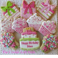 Birthday Cookies by The Cookie Loft Girls Birthday Cake Cookies, Happy Birthday Cookie, Cupcake Cookies, Easter Cookies, Iced Sugar Cookies, Sugar Cookie Frosting, Royal Icing Cookies, Cookie Cottage, Biscuits