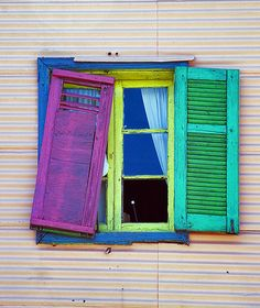 Photo taken in Argentina by Graziano Francesco in 2012 Window Shutters, Window Boxes, Door Knobs And Knockers, Window Dressings, Window View, Through The Window, World Of Color, Color Theory, Stairways