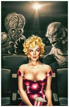 Horror Pin Up Artist: Carlos Valenzuela Arte Horror, Horror Art, Horror Movies, Caricatures, Pin Up Kunst, Madonna, 3d Foto, Marilyn Monroe Photos, Marylin Monroe