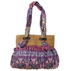 National Style Weaving and Floral Print Design Women's Shoulder Bag