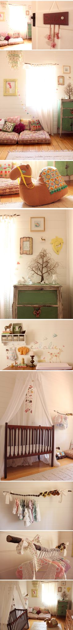 Bohemian nursery design, with found art and organic touches