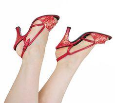 Fleur de lis Shoes / Vintage 1940s Red & Gold Pinup by NovaVintage, $212.00