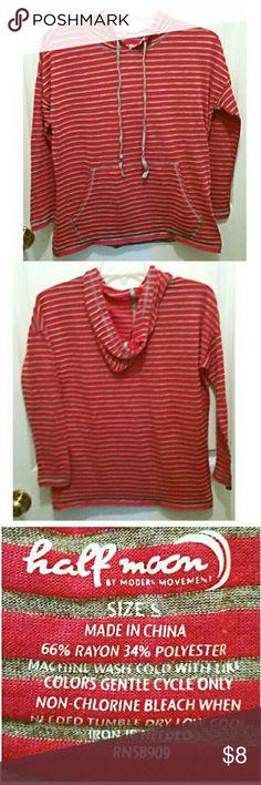 Red/grey lightweight hoodie by Half Moon 66% rayon, 34% polyester. Machine wash cool, tumble dry low.#sizesmall#halfmooon#noholesorstainsnoted Half Moon Tops Sweatshirts & Hoodies