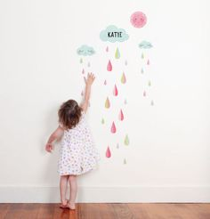 Looks like a wall decal, but it's a growth chart. Cute!