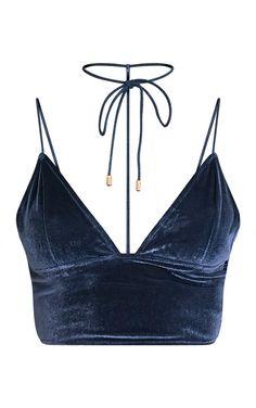 dd85997f93 Tasmine Blue Velvet Choker Bralet