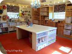 diy crafting table, craft rooms, painted furniture, storage ideas, Another view of the work table