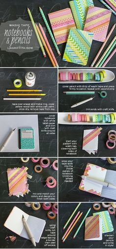 DIY washi tape notebooks and pencils