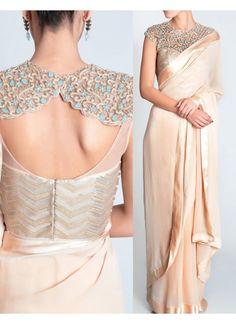 New Lycra Silk Light Peach Designer Saree