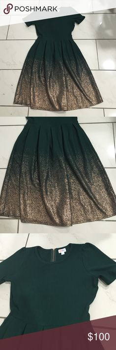 Lularoe L elegant green ombré dress This dress is fantastic and amazing and I love it. But I think I need a size Medium. Willing to trade for medium! I want to keep it just to have it but it deserves to be worn! It has pockets and is the Amelia from lularoe. It's so soft and really really pretty. It's a dark jade green color! It's truly pretty! LuLaRoe Dresses Midi