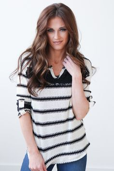Magnolia Boutique Indianapolis - Lace Detail Striped Top - Black/Ivory, $32.00 (http://www.indiefashionboutique.com/lace-detail-striped-top-black-ivory/)