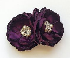 Purple Eggplant Wedding Hair Clip for Bride, Bridesmaid, Flower Girl, Formal Occasion, Family Photo Prop Pick Your Color on Etsy, $34.00