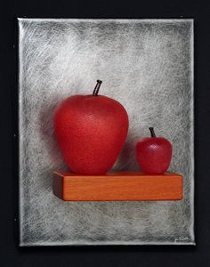 Art Glass,'Mother & Child' (Two Red Apples Still-Life), wall sculpture composed of hand blown glass apples, stainless steel and mahogany. Soft Layers, Glass Wall Art, Red Apple, Mother And Child, Wall Sculptures, Hand Blown Glass, Three Dimensional, Still Life, Apples