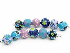 Flieder und türis beads from fimo, Perlenset aus Polymer Clay von polymerdesign