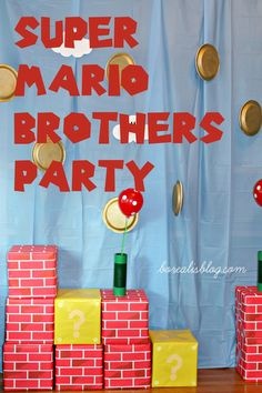 Super Mario Brothers Birthday Party: Decor, games, food, tutorials, supply lists, links to where to purchase. Mario Party Games, Birthday Party Games, 7th Birthday, Birthday Ideas, Super Mario Birthday, Super Mario Party, Princesa Peach, Mario Kart, Mario Y Luigi
