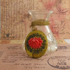 Vintage Pink Rose Filigree Locket Necklace by vintagejewellerybox, £15.00